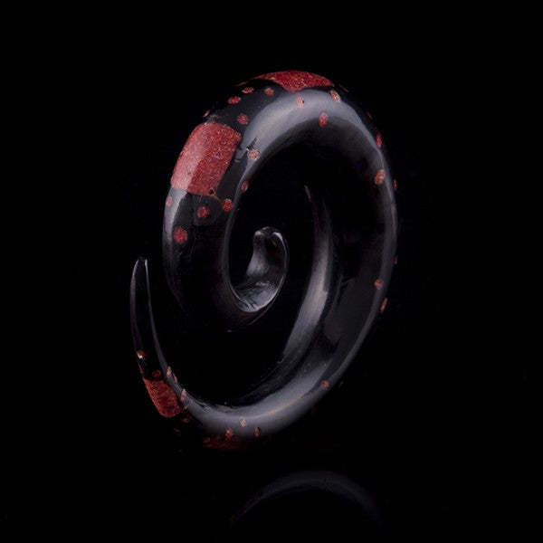 Horn Expander Inlaid with Red Coral