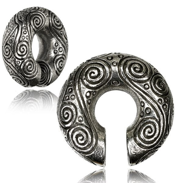 White Bronze Etched Spiral Pattern Circle Ear Weights
