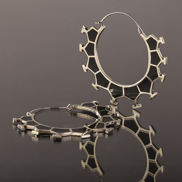 MARAMA Honeycomb White Bronze & Black Resin Earrings - Large