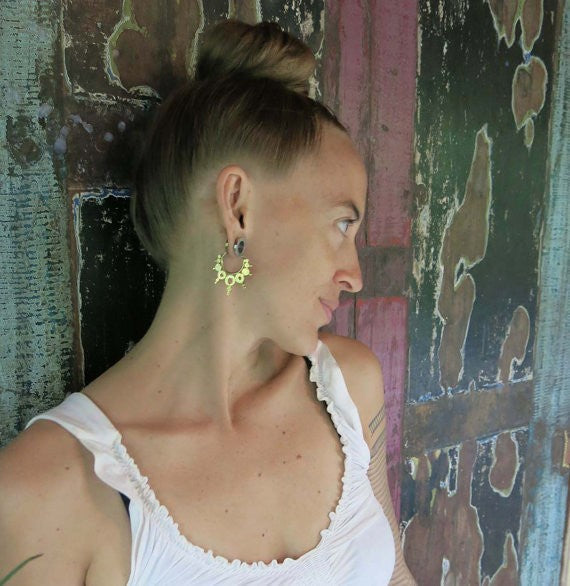 Brass Mandala Hoop Earrings - Silver Clasp