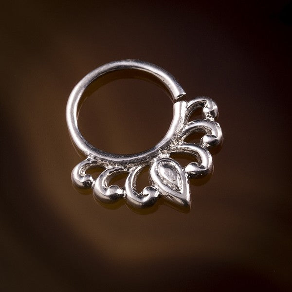 Lily Droplet Silver Septum Ring for Pierced Nose - 1mm & 1.6mm