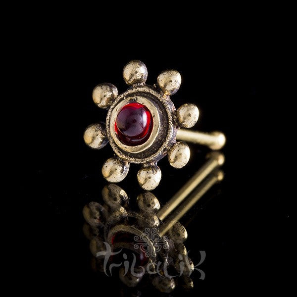 Brass Red Agate Nose Stud