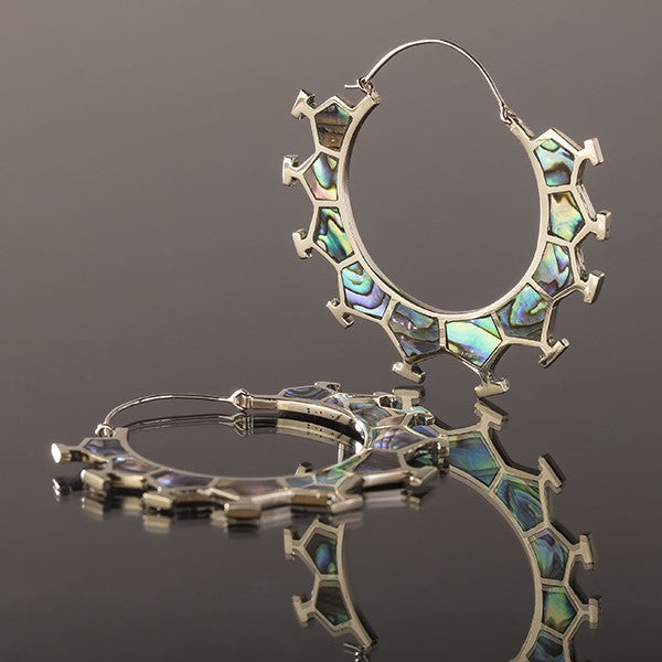 MARAMA Honeycomb White Bronze & Abalone Shell Earrings - Large