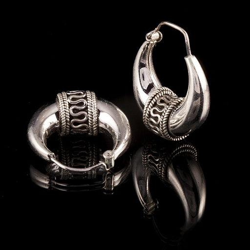 gypsy tribal hoop silver earrings