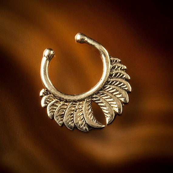 Feather Wings Faux / Fake Brass Septum Ring - Clip on