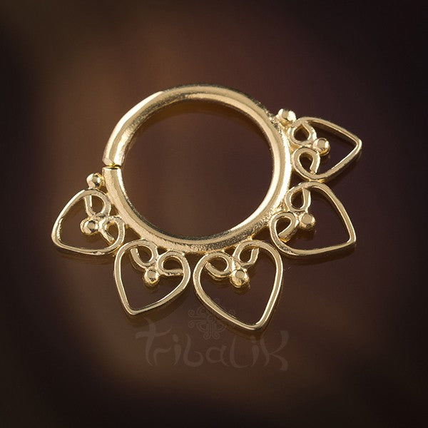 Heart Mandala Gold Plated Silver Septum Ring for Pierced Nose - 1.2mm (16g)
