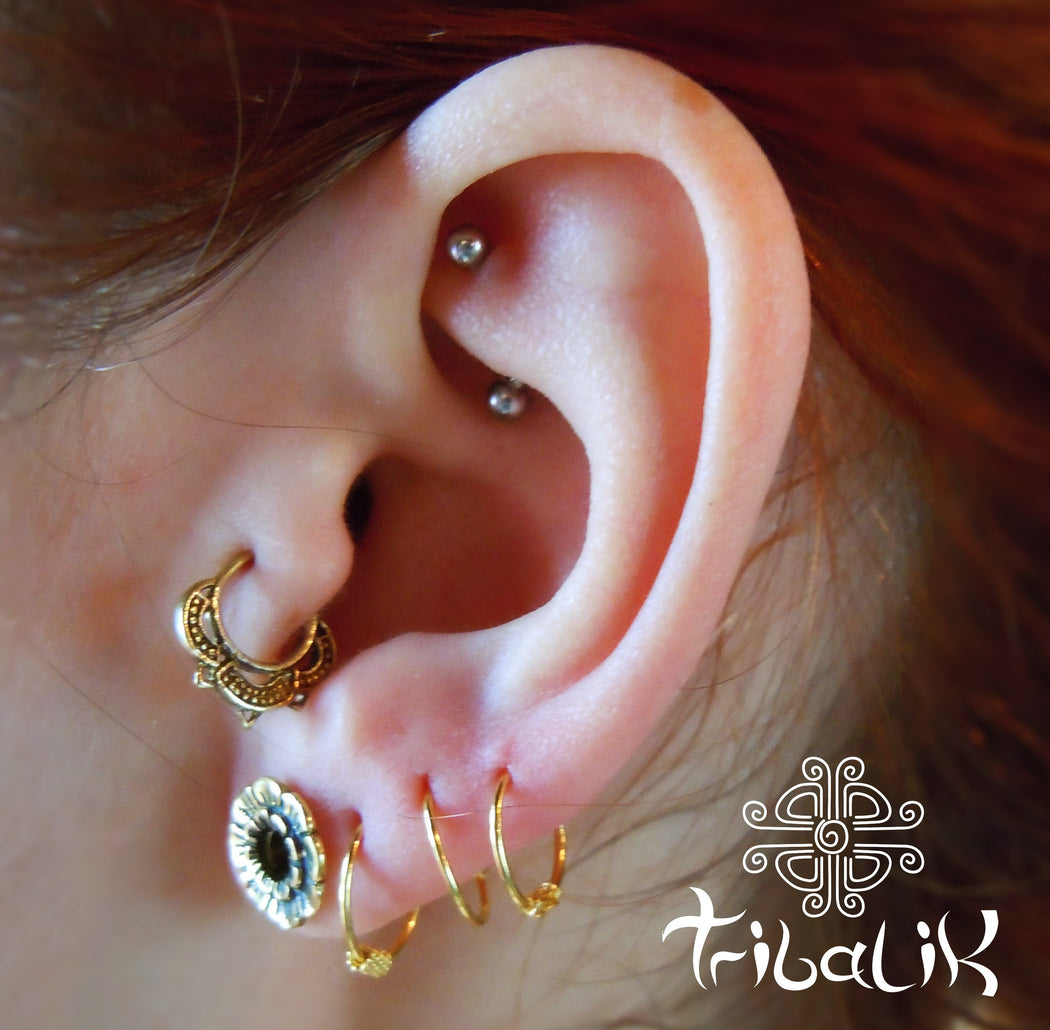 Terena Brass Tragus Ring