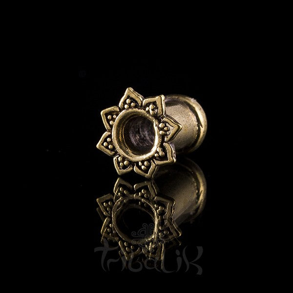 Lotus Petal Brass Ear Tunnels - Plugs - Eyelets