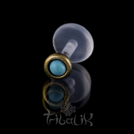 Brass Turquoise Labret/Tragus Stud