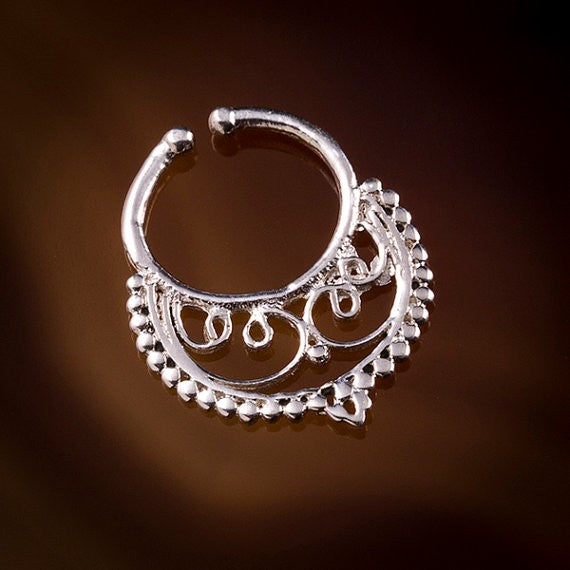 Sita Filigree Faux / Fake Silver Septum Ring