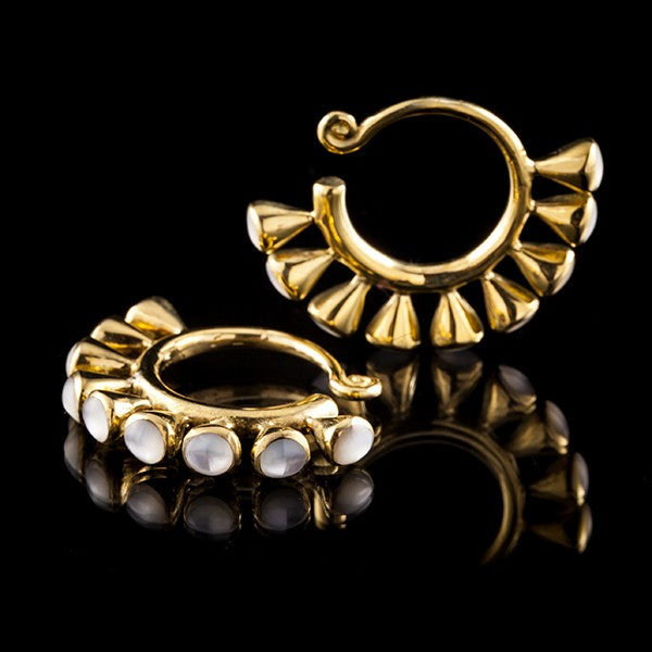 Gold Brass Ear Weights with White Shell- Miao Miao Chinese Tribal