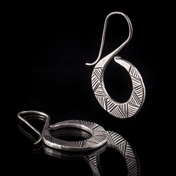 Silver Spiral Drop Earrings With Aztec Etching