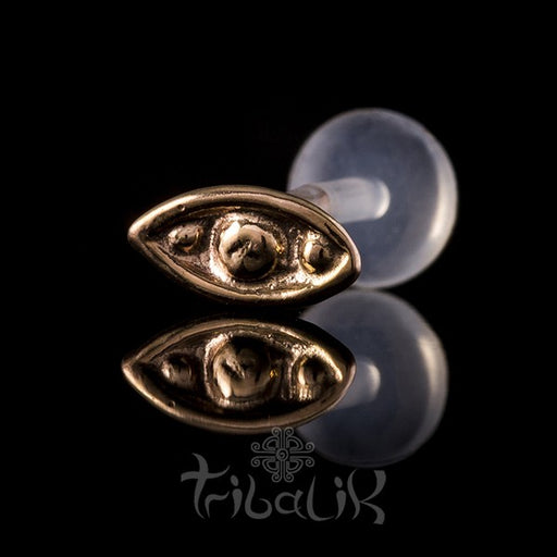 14k Solid Rose Gold/Yellow Gold Eye Labret Stud