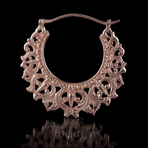 18K Rose Gold Plated 'DIVINE CROWN' Large Hoop Earrings