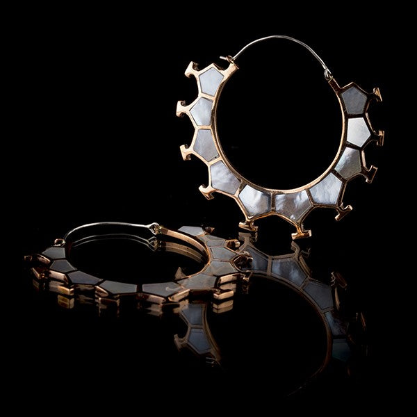 A Honeycomb Copper & Mother Of Pearl Shell Hoop Earrings, Large- Marama