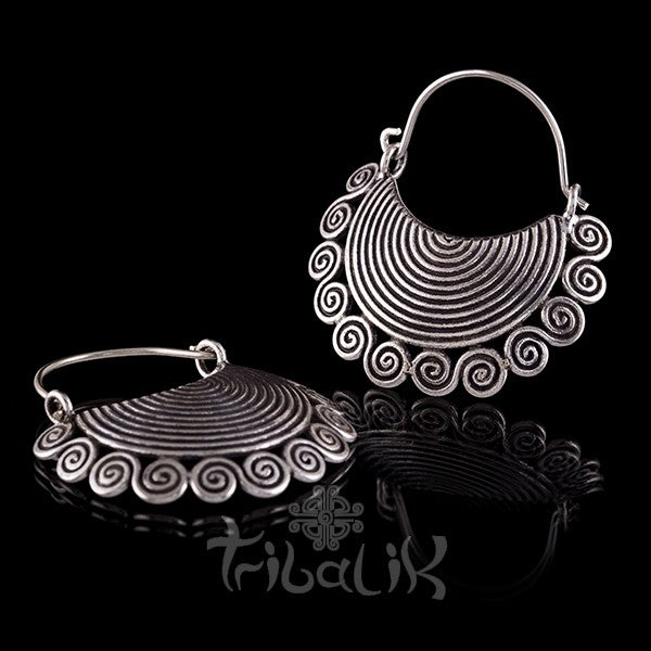 Tribal Silver Crescent Spiral Sun Earrings