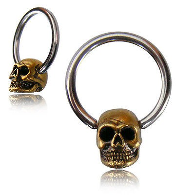 Stainless Steel and Brass Skull Body Ring