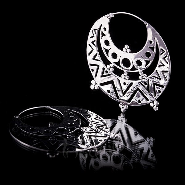 Silver Plated Large Tribal Hoop Earrings