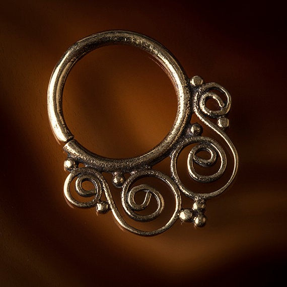 Catio Filigree Brass Septum Ring for Pierced Nose - 1.2mm & 1.6mm