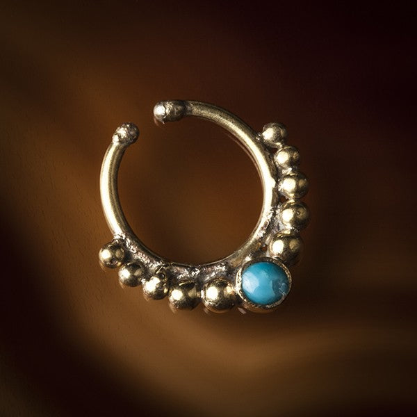 gold turquoise cheater septum