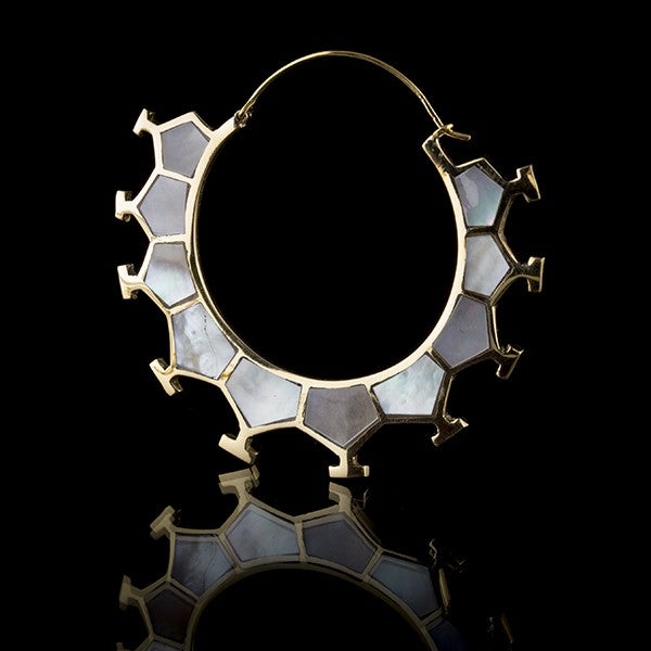 Honeycomb Gold & Mother Of Pearl Earrings, Large- Marama