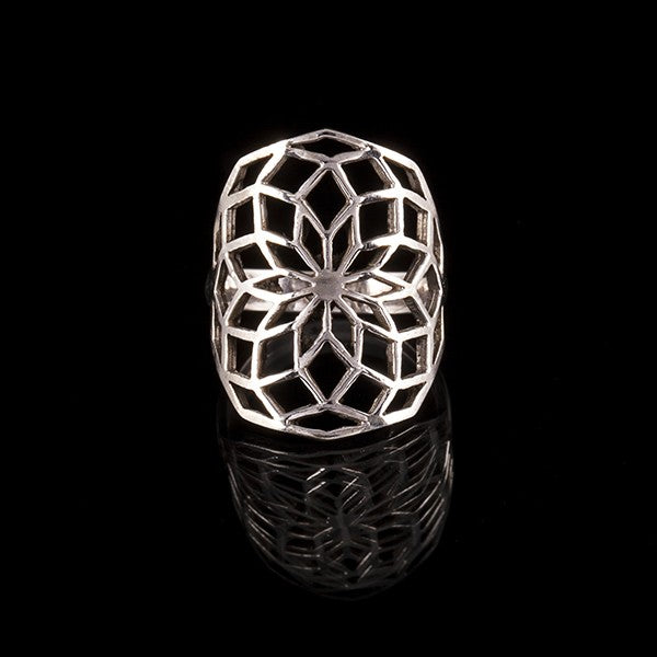 925 Silver Flower of Life Ring