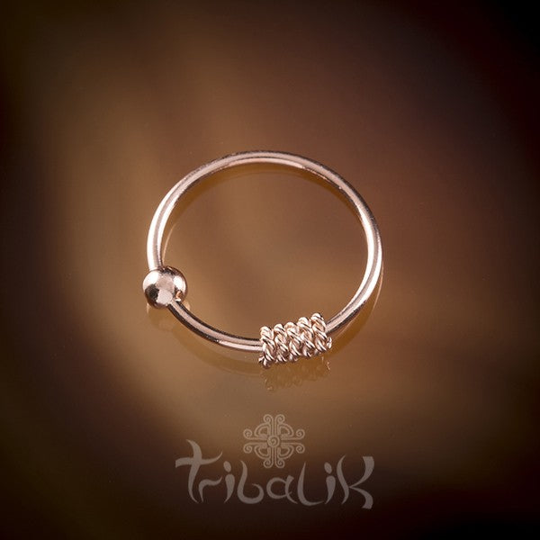 Traditional Indian 18k Rose Gold Plated Silver Nose Ring