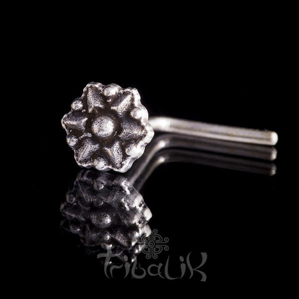Sterling Silver Star Flower Nose Stud