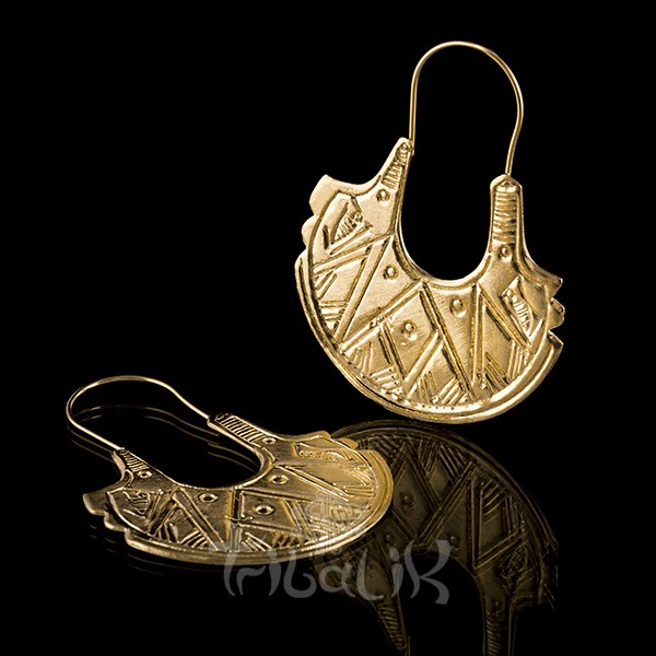 Gold Plated Etched Fish Tail Half Moon Earrings