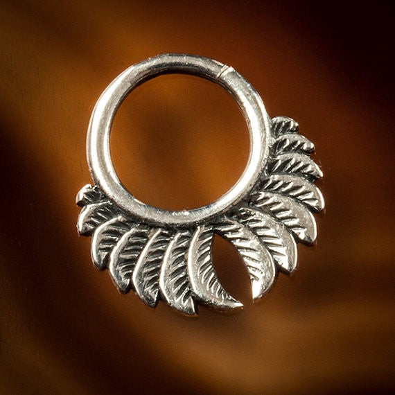 Feather Wings Silver Septum Ring for Pierced Nose - 1mm