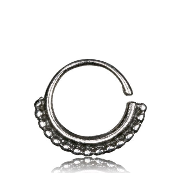 Sarika Silver Septum Ring for Pierced Nose - 1mm