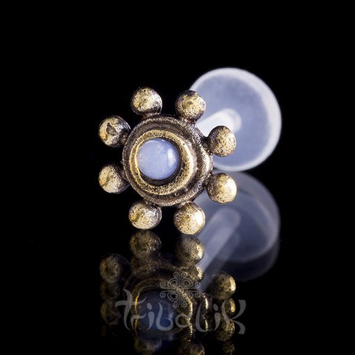 Tribal Sun Moonstone Labret Stud/Bar