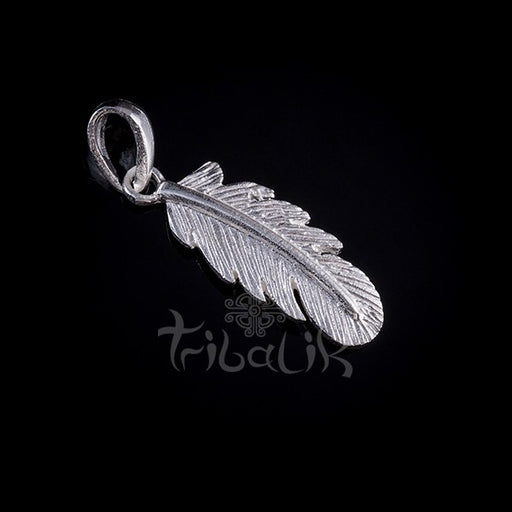 Silver Charm Pendant Small Feather