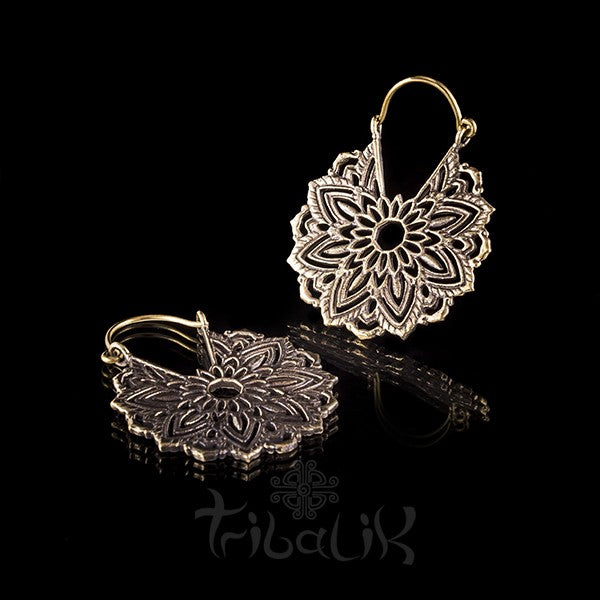 Multi Flower Brass Floral Hoop Earrings