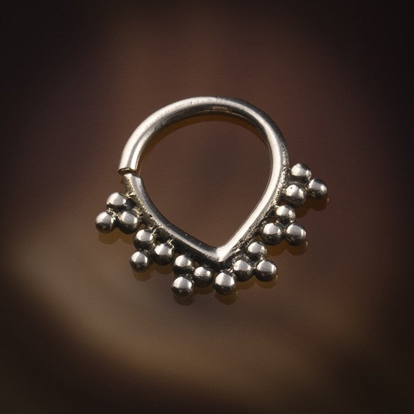 Aweti Silver Septum Ring for Pierced Nose - 1.2mm