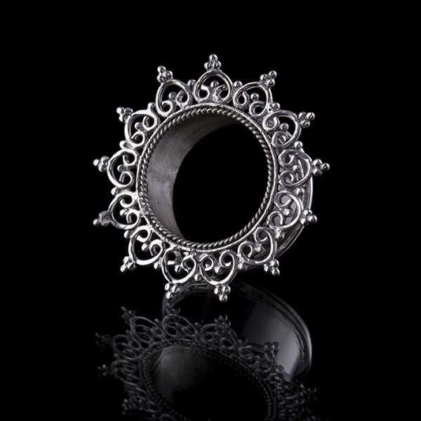 Silver Heart Mandala Ear Tunnel - 4mm - 30mm