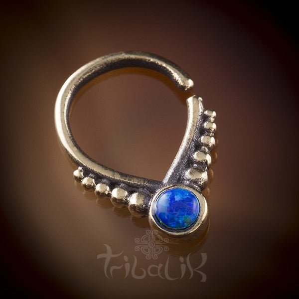 Brass and Opal Septum Ring for Pierced Nose