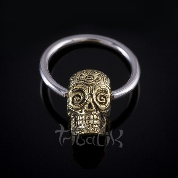 body nipple ring skull
