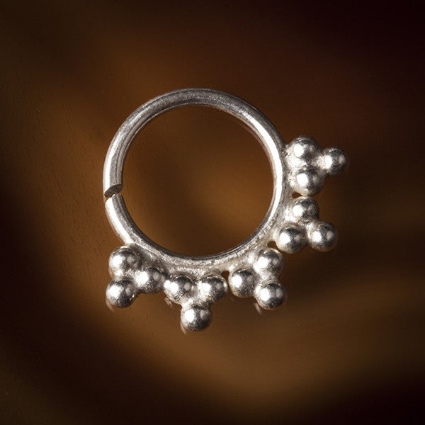 Siriano Silver Septum Ring for Pierced Nose - 1.2mm