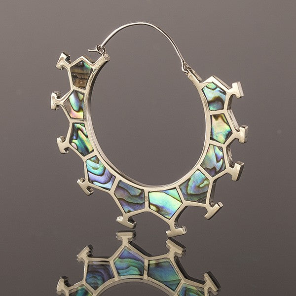 Honeycomb White Bronze & Abalone Shell Earrings - Large