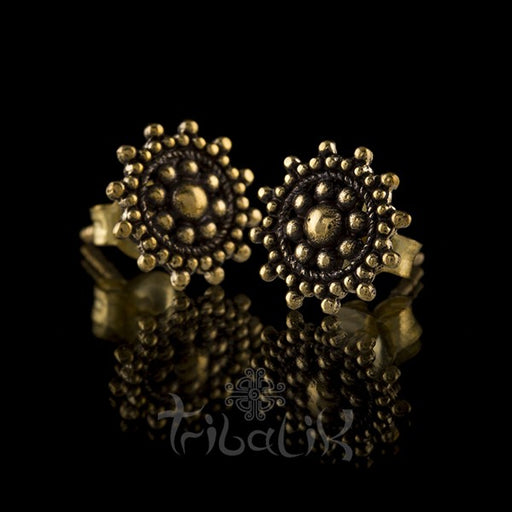 Mandala Dotted Brass Ear Stud