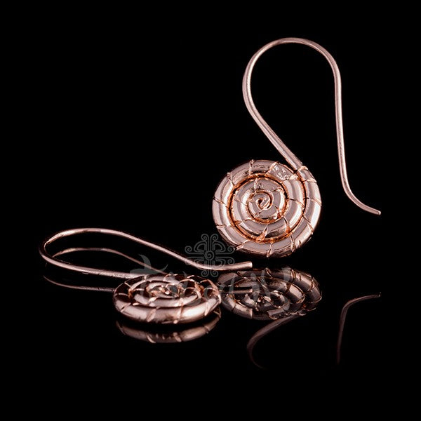 18k Rose Gold Plated Spiral Hoop Earrings