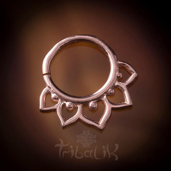 Rose Gold Plated Lotus Flower Septum Ring