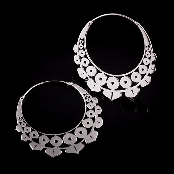 LOTUS GEO  Silver Plated Hoop Earrings - Silver Clasp