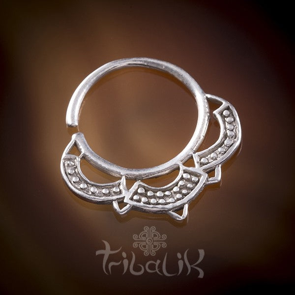 Terena Silver Septum Ring For Pierced Nose