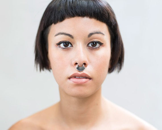 Blue Lotus Silver Septum Ring for Pierced Nose - 1.2mm