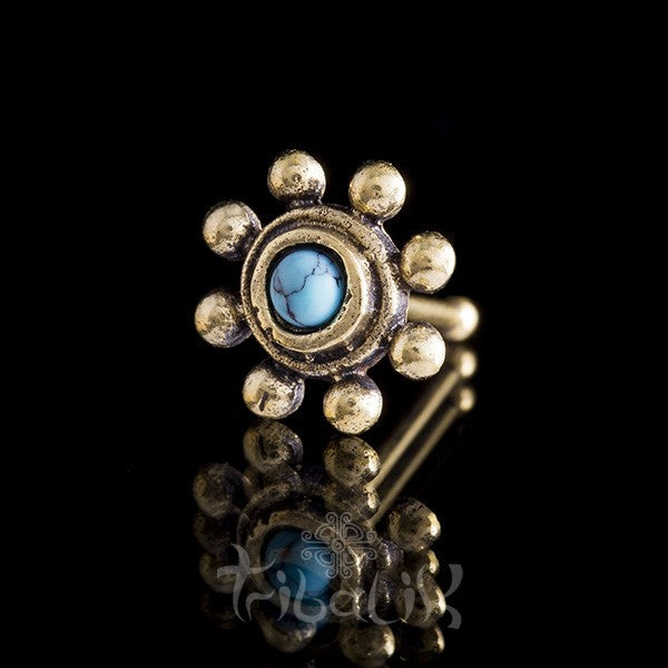 Brass Turquoise Nose Stud