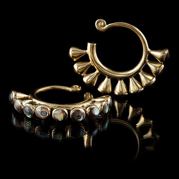 Gold Ear Weights Inlaid with Abalone Shell- Miao Miao Tribal