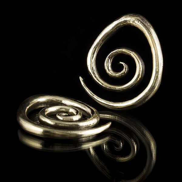 SOLD OUT ! Gold Brass Spiral Ear Weights for 8mm Stretched Ears