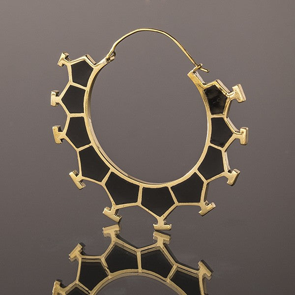 MARAMA Honeycomb Brass & Black Resin Earrings - Large